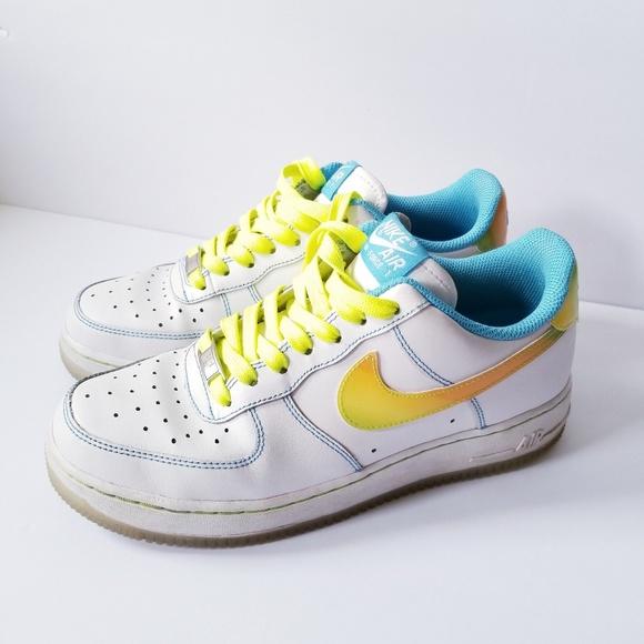 reputable site 92890 20011 AF1 Nike LE GS white pro cyan citron. M 5b019e2461ca10a9e538eefb